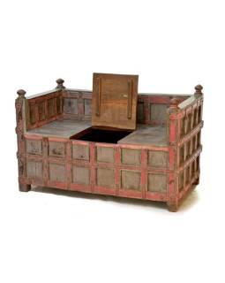 Masívne drevené sedadlo s úložným priestorom, železné kovania, 124x69x78cm