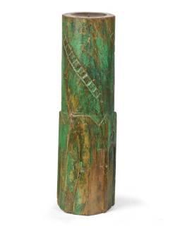 Svietnik, antik stĺp, teak, zelený, 15x15x55cm