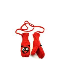 Zvířátkové vlnené rukavice - palčiaky lienka