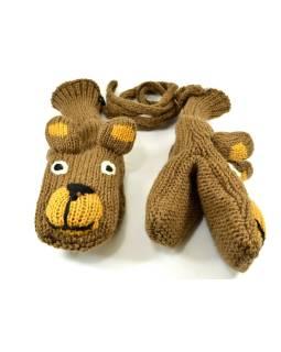 Zvířátkové vlnené rukavice - palčiaky medveď