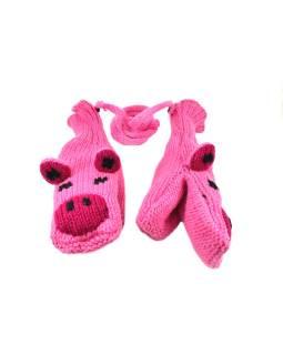 Zvířátkové vlnené rukavice - palčiaky prasiatko