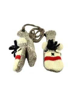 Zvířátkové vlnené rukavice - palčiaky opice