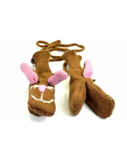 Zvířátkové vlnené rukavice - palčiaky zajac