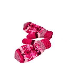 Rukavice, palčiaky, vlna, bohatá výšivka, prúžky, ružové