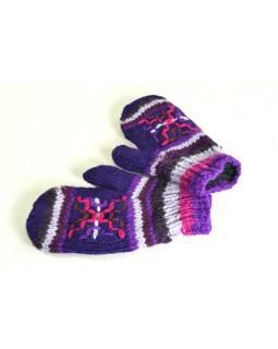 Rukavice-palčiaky, fialovej, výšivka, podšívka