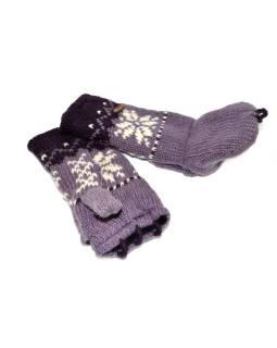 Rukavice, palčiaky bez prstov, vzor vločka, vlna, podšívka, fialové