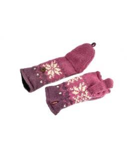 Rukavice, palčiaky bez prstov, vzor vločka, vlna, podšívka, ružové