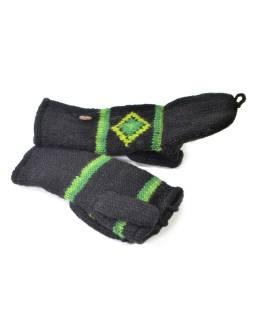 """Rukavice, palčiaky bez prstov, """"Green Diamond"""", vlna, podšívka"""