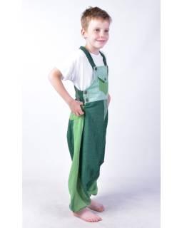 Detské nohavice s trakmi, zelené