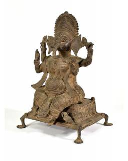 Kovová soška Ganéša, antik patina, 26x42cm