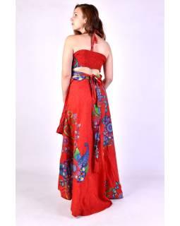 """Atypické zavinovacie šaty """"Flower design"""" na ramienka, červené"""