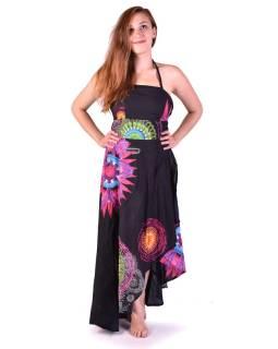 """Atypické zavinovacie šaty """"Mandala design"""" na ramienka, čierne"""