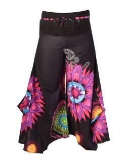 """Čierne zvonové nohavice s vysokým pásom, """"Mandala design"""""""