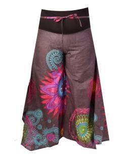 """Šedé zvonové nohavice s vysokým pásom, """"Mandala design"""""""