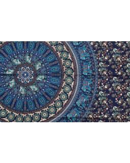 Modrý přehoz přes postel, sloni a květiny, 140x210cm