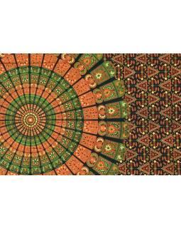 """Černý přehoz přes postel """"Barmery round"""" květiny, 140x210cm"""