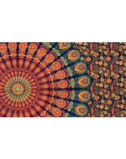 """Modrý přehoz přes postel """"Barmery round"""" paví pera, 140x210cm"""