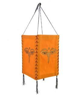Tienidlo, štvorboké, oranžovej, zlatá tlač, Budha oči, 18x25cm