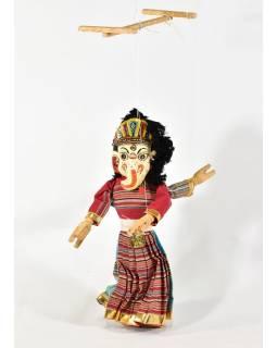 Ručne maľovaná bábka, dve tváre Ganéša / Bhairab, textil-drevo, 45cm