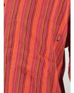 Pruhovaná pánska košeľa-kurta s dlhým rukávom a vreckom, červená