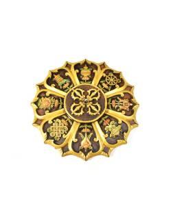 Mandala, Astamangal, ručne maľovaná keramika, priem. 50cm