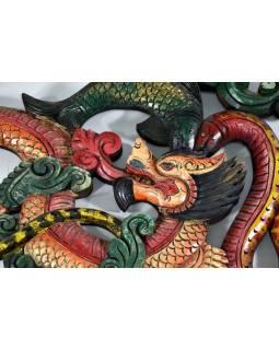 Tibetský drak, ryby a had, ručne vyrezávaný, 55x34cm