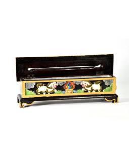 Krabička na pálenie vonných tyčiniek, vyrezávaná, maľovaná, 35x9x12cm
