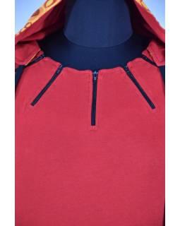 Krátke červené šaty s kapucňou a krátkym rukávom, bublinkový potlač, vrecká