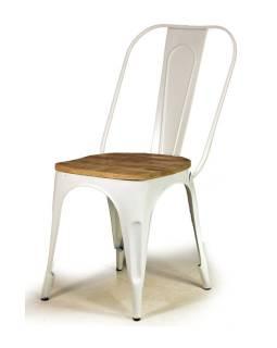 Kovová stolička s dreveným teakovým sedákom, 59x42x92cm