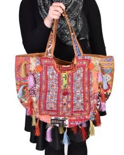 Unikátny taška z Gudžaráte, bohato ručne vyšívaná a zdobená, strapce, 55x40cm