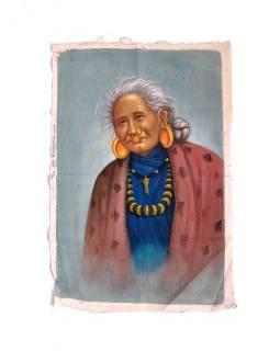 Ručne maľovaný obraz na plátne (bez rámu), Nepál, cca 48 * 72cm