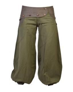 Dlhé khaki balónové nohavice s manžestrom, zips a gombíky, výšivka, vrecká