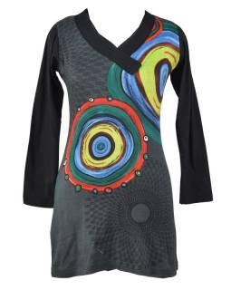 Šedé šaty s dlhým rukávom, Mandala potlač