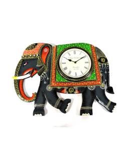 Hodiny so slonom / slon s hodinami, ručne maľované drevo, 62x46cm