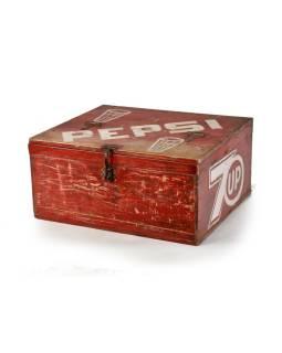 """Drevená chladnička """"Pepsi"""", antik, 59x47x28cm"""