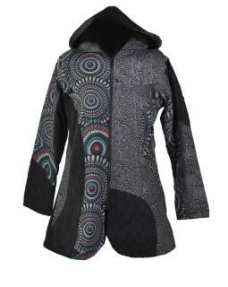 Čierno-šedý kabátik s kapucňou, mandala print, zapínanie na zips a vrecká