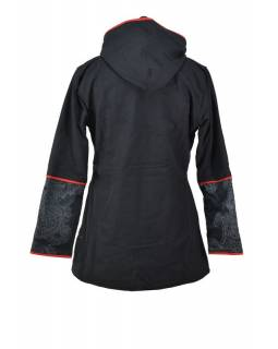 Čierno-červený kabát s kapucňou zapínaný na zips, farebný Mandala potlač, lemy