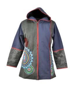 Čierno-sivý kabát s kapucňou zapínaný na zips, farebný Mandala potlač, lemy