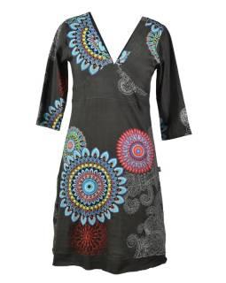 Šedé šaty s dlhým rukávom, Mandala potlač, V výstrih