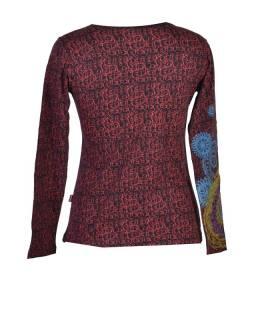 Čierne tričko s dlhým rukávom, vínový celopotlač a farebná mandala, V výstrih