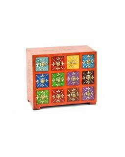 Ručne maľovaná drevená skrinka s dvanástimi zásuvkami, 14x25x21cm