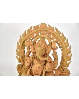 Mosadzná soška Ganéša, antik patina, 35x18x48cm