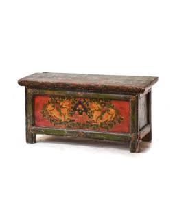 Ručne maľovaný antik rituálne stolík z centrálneho Tibetu, borovica, 88x36x44cm