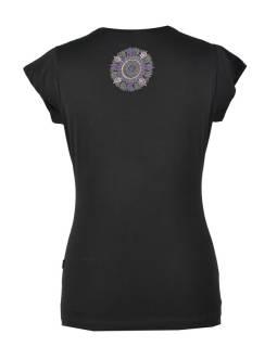 Čierne tričko na jogu z bio bavlny, výšivka Chakra a potlač