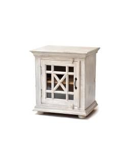 Komodka - nočný stolík, presklené dvierka, šedá patina, mango, 56x42x61cm