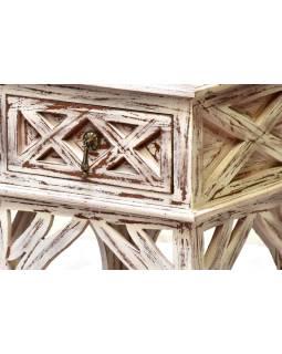 Nočný stolík so zásuvkou, biela patina, mango, 40x40x60cm