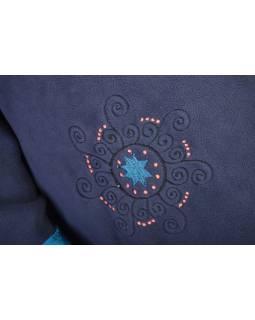 Modrý kabát s potlačou zapínaný na gombík, výšivka, vrecká