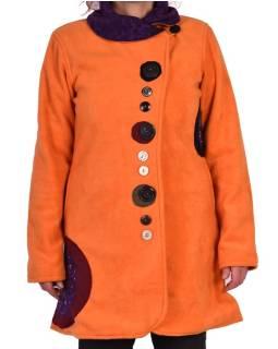 Oranžový fleecový kabát s golierom zapínaný na gombíky, farebné aplikácie, potlač