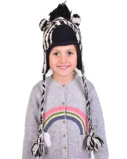 Čiapka s ušami, detská, zebra, čierno-biela
