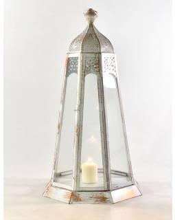 Kovová lucerna, bielo-medená patina, 33x33x69